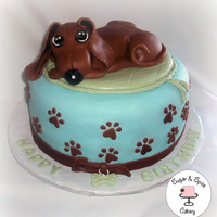 *dachshund Cake* Half & Half with Oreo Filling.All Dairy Free.