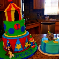 Circus Cake & Smash Cake   buttercream icing with fondant decorations
