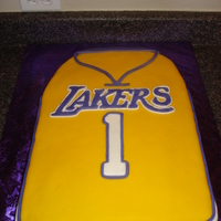 Lakers Theme First Birthday Cake I made this cake for a little boy turning one. His parents are huge Laker fans.