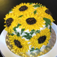 "2 Layers Of 6 Chocolate Cake Filled And Entirely Decorated With Vanilla Butter Cream All Sunflowers Were Done With Butter Cream This Cak  2 layers of 6"" chocolate cake filled and entirely decorated with vanilla butter cream.All sunflowers were done with butter cream. This..."