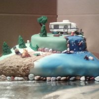 Camping Cake Lots of fun making all the little critters on this cake. Need to take better photos to show more details.