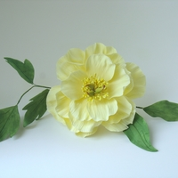 Gumpaste Chinese Peony yellow gumpaste peony with bud and leaves