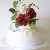 Sugar Flowers For Mom Deep red gumpaste roses with Gardenia's, berries and leaves..