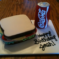"Sandwich And A Coke  My daughter made this ""sandwich and coke"" for her friend's birthday. The sandwich is a white cake with bc icing and the coke..."