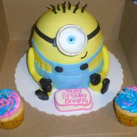 Despicable Me Minion  Despicable Me Minion cake covered in marshmallow fondant ... I covered the bottom of foam cup with fondant and sprinkled with silver dust...