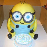 Despicable Me Minion With Mini Cake   Despicable Me Minion cake covered in marshmallow fondant