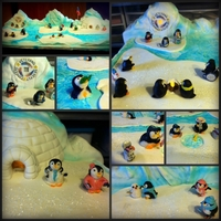 Veterans Penguin Winter Wonderland Cake My Veteran Penguin Winter Wonderland Cake. It was 2' x 4' half was a pumpkin spice cake with pumpkin cheese cake filling and the...