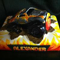 Monster Truck Vanilla cake, vanilla pudding filling, vanilla butter cream.