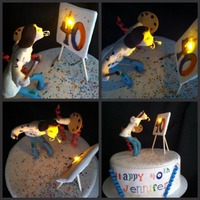 The Artist Cake The Artist Cake....Yellow cake with apple crumb cake filling and caramel butter cream. The candle on the canvas painted 40 is a small...