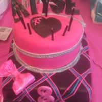 Monster High Themed Party Cake made for a little girls monster you themed party. Trying to avoid copyright infringement and still stay with the theme. Fondant...