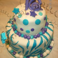 16Th Birthday Cake   purple and teal birthday cake