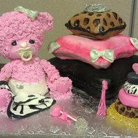 Diva Baby Shower Cake  Pink bear is made of rice krispies and covered in vanilla frosting.Stacked pillows are strawberry cake with vanilla and chocolate cake with...