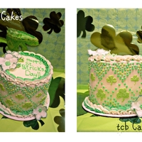 St. Patrick's Day 2012 St. Patrick's Day cake with shamrocks, flowers and buttercream in shades of green.