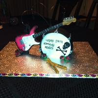 Rock N Roll Birthday  I was really inspired by Ray77 Rock n Roll cake and made slight modifications for it to suit my client. The guitar, roses, drumsticks were...