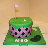 "~Ladies Golf Cake~  I made this cake after searching the internet for ideas! It has an argyle pattern on the side. A putting green on top. I made the ""..."