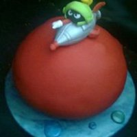 Marvin The Martian  Marvin the Martian cake inspired by Debbie Brown! I made Marvin and his spaceship out of gumpaste/fondant. I made the planet using (2) 8...