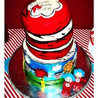 Cat In The Hat Baby Shower All mm fondant accents and hand painted details... copied it mostly from a photo and just added a few things. My hot tip would be, do not...