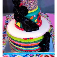 Fiesta Tori Fiesta themed party Cake! Tried to imitate the style of her runner on the middle tier
