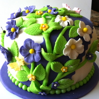 Summer Flowers  A birthday cake for my daughters co-worker. Her favorite color is purple and her favorite cake flavor is strawberry, The flowers are purple...