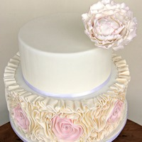Wedding Cakes {Veluz Bride Photoshoot} Large Peony topper with rosette ruffles
