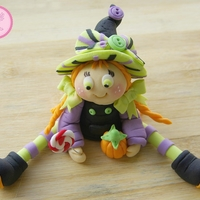 "Little Witch Gumpaste Cake Topper (6""wide 3"" tall) for Halloween"