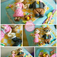 Up! Themed Cake Carl & Ellie toppers on square cake