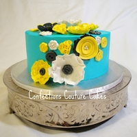 Fantasy Flowers And Buttons BC cake, fondant fantasy flowers and buttons from the Wilton button mold! LOVE this cake! Happy Birthday to my Bestie!!! TFL!
