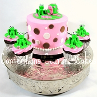 Froggy Baby Shower! Cutest little frog and turtle baby shower cake!! 12 matching cupcakes!