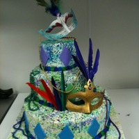 Mardi Gras Cake Mardi Gras party buttercreme stacked back to back