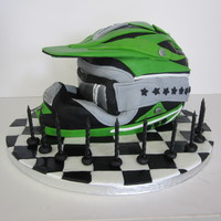 Moto-X Helmet Quite a large cake in the end, almost the size of the helmet it was modelled on. All chocolate cake with chocolate ganache, covered in...