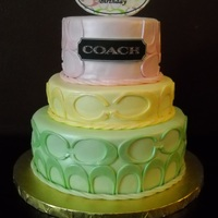 Coach Themed Cake Customer asked to make a simple cake that matched her Coach purse.