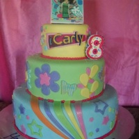 Icarly Tiered Cake Every tier featured a different flavor. We combined the colors/graphics off her show and used an edible image for the topper.