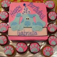 "Blue's Clues Birthday Cake A simple but cute idea. Blue is featured on the cake with matching ""paw"" print cupcakess"