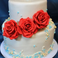 Red And Turquoise Pearl Wedding Cake Thanks for looking