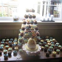 "Cupcakes Galore!   Large cupcake with jelly beans etc and 200 small cupcakes for a wedding ""Mad Hatters Tea Party Theme"""