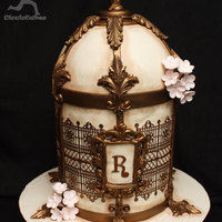 Antique Birdcage with Copper accents & copper airbrushed lace
