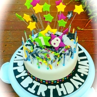 18Th Birthday Cake   Choc cake covered with stars and streamers