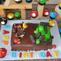 Angry Birds   Angry Birds Chocolate Buttercream Chocolate Cake with Modeling Chocolate Figurines