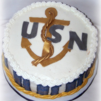 Anchor Groom's Cake This is a marble cake w/ all bc icing except for the anchor and USN lettering, those are fondant