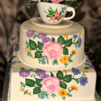 Royal Doulton China Cake I made this cake for my Mother in Law's 60th Birthday. The cake is inspired by her china pattern - Royal Doulton Arcadia. Gumpaste...