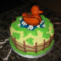Basketball Duck Last minute baby shower cake, I was told sports theme (the dad loves basketball) and for a boy. This is all I could come up with