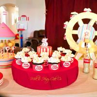 Birthday Circus Caramel Filled Chocolate Cupcakes With Cream Cheese Frosting Cotton Candy Flavored Cake Pops And Red Velvet Center Cake Birthday circus! Caramel filled chocolate cupcakes with cream cheese frosting, cotton candy flavored cake pops, and red velvet center cake...