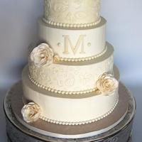 All Buttercream Paisley Piped Off White Wedding Cake With Sugar Roses Pearls And A Monogram Tfl All buttercream paisley piped off white wedding cake with sugar roses, pearls, and a monogram. TFL!