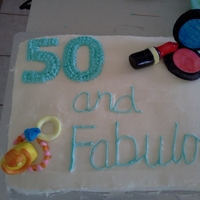 50Th Birthday Cake   50th Birthday Cake for my fabulous mother- buttercream with fondant accents