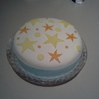 Celebrate!   FIrst time covering a cake in fondant- made with homemade marshmallow fondant