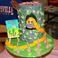 Tangled I made this cake for my niece's 6th birthday because she loves the movie Tangled. It is 6 layers high with each one a different color...