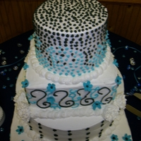 Teal And Navy Wedding Cake