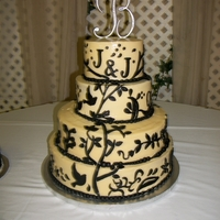 Cream And Black Wedding Cake