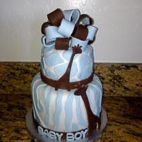 Blue Safari Theme Giraffe Baby Shower Cake Blue Safari Theme Giraffe Baby Shower Cake