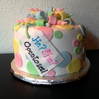 Dots & Bow Gender Reveal Baby Shower Cake & Cupcakes Dots & Bow Gender Reveal Baby Shower Cake